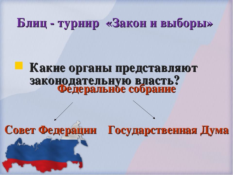 Блиц - турнир «Закон и выборы» Какие органы представляют законодательную влас...