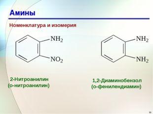 * Амины Номенклатура и изомерия 2-Нитроанилин (о-нитроанилин) 1,2-Диаминобенз