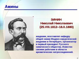 * Амины ЗИНИН Николай Николаевич (25.VIII.1812–18.II.1880) академик, возглавл