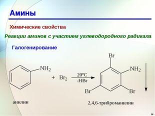 * Амины Химические свойства Реакции аминов с участием углеводородного радикал