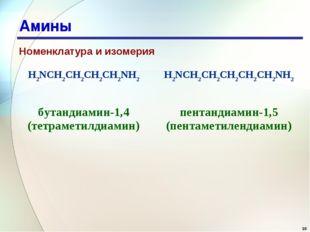 * Амины Номенклатура и изомерия H2NCH2CH2CH2CH2NH2H2NCH2CH2CH2CH2CH2NH2 бута