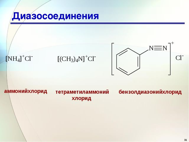 * Диазосоединения аммонийхлорид тетраметиламмоний хлорид бензолдиазонийхлорид