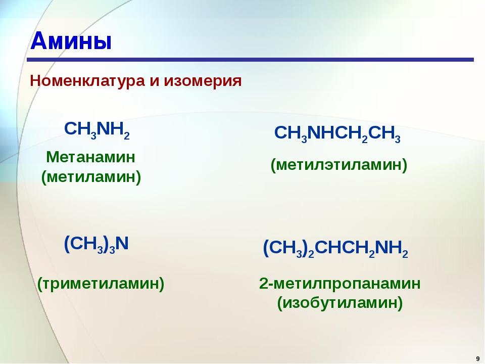 * Амины Номенклатура и изомерия 2-метилпропанамин (изобутиламин) CH3NH2 CH3NH...