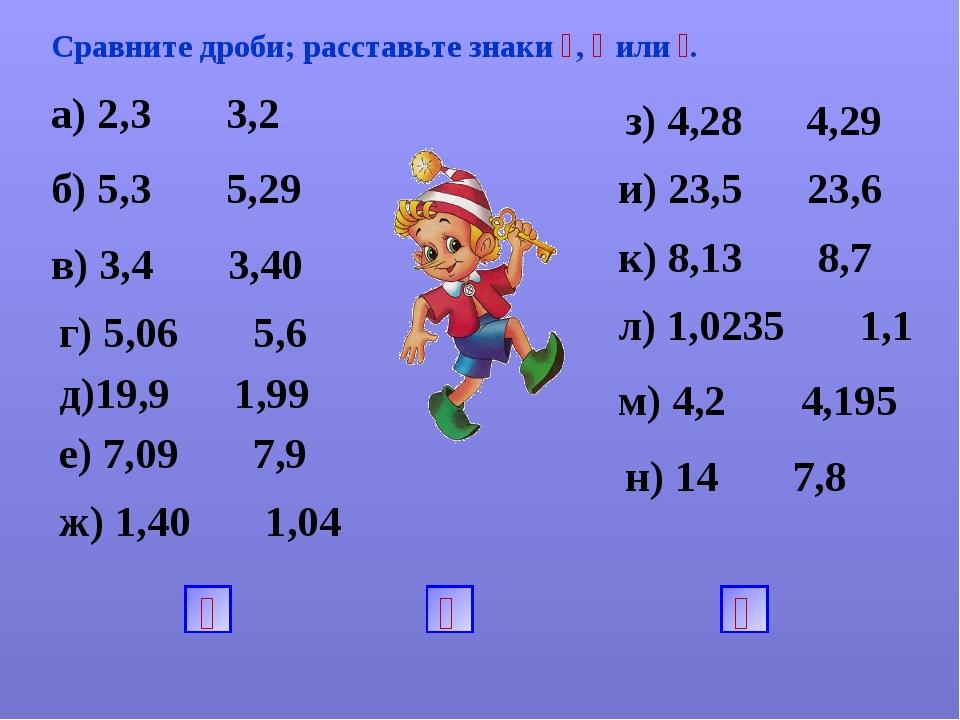 Сравните дроби; расставьте знаки ˂, ˃ или ꞊. а) 2,3 3,2 и) 23,5 23,6 з) 4,28...
