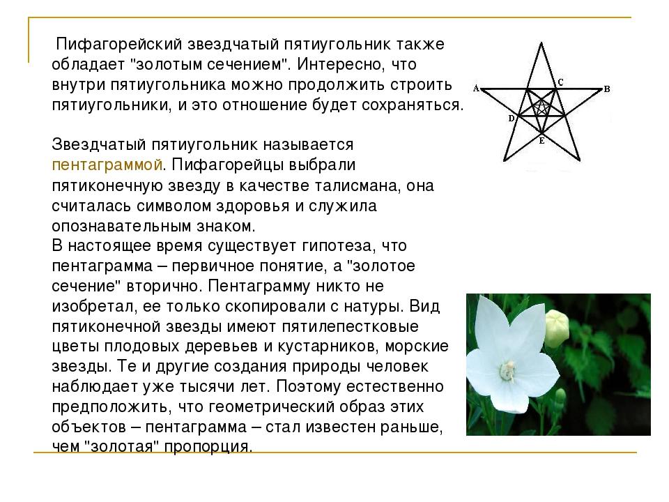 """Пифагорейский звездчатый пятиугольник также обладает """"золотым сечением"""". Инт..."""