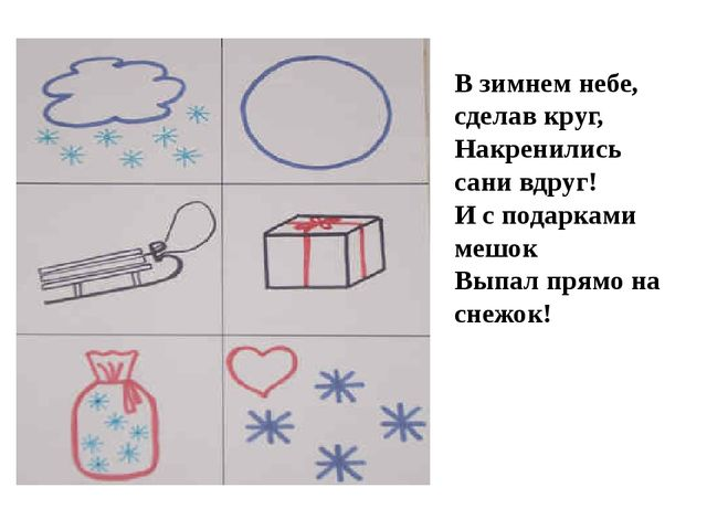В зимнем небе, сделав круг, Накренились сани вдруг! И с подарками мешок Выпал...