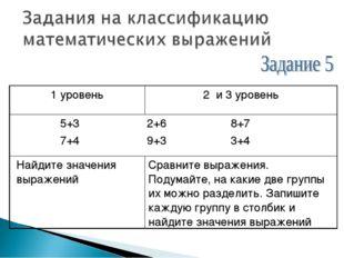 1 уровень2 и 3 уровень 5+3 2+6 8+7 7+4 9+3 3+4 Найдите значения выраженийС