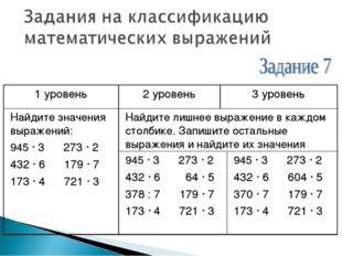 1 уровень2 уровень3 уровень Найдите значения выражений: 945 · 3 273 · 2 432