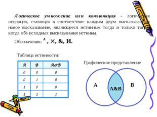 Логическое умножение или конъюнкция - логическая операция, ставящая в соответ