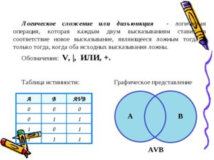 Логическое сложение или дизъюнкция - логическая операция, которая каждым двум