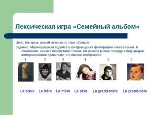 Лексическая игра «Семейный альбом» Цель: Контроль знаний лексики по теме «Сем
