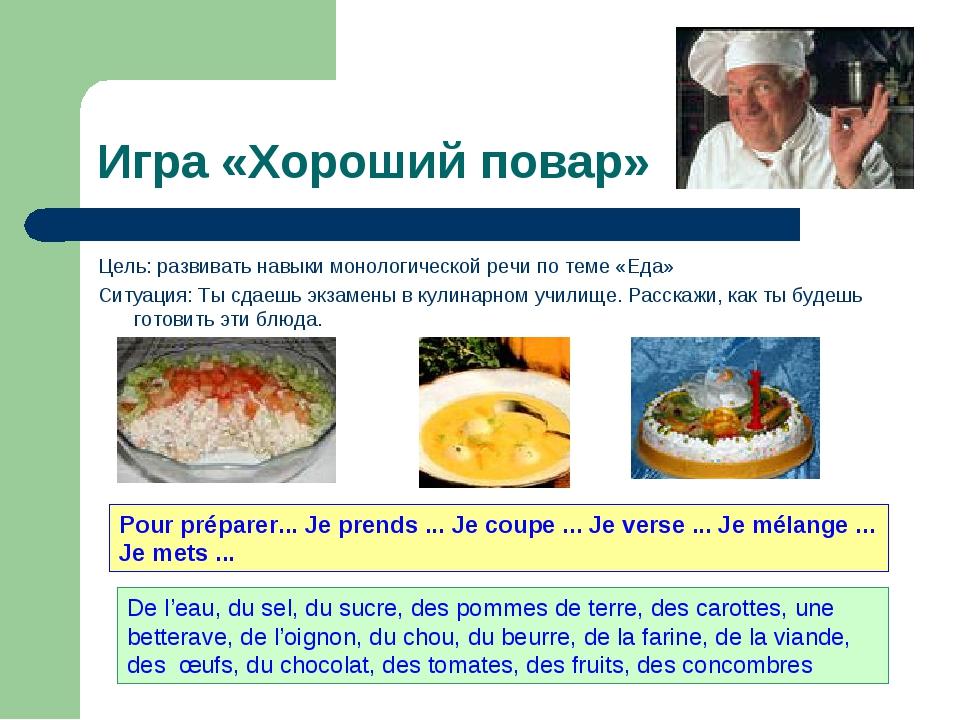Игра «Хороший повар» Цель: развивать навыки монологической речи по теме «Еда»...