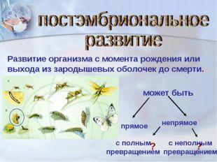 Развитие организма с момента рождения или выхода из зародышевых оболочек до с
