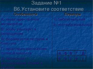 Задание №1 В6.Установите соответствие Особенности Периоды А) характерен полн