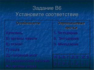 Задание В6 Установите соответствие Особенности Зародышевые листки А)печень Б