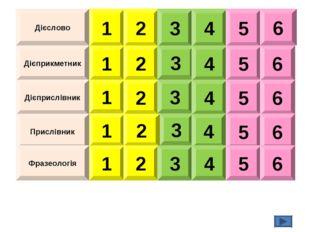 Дієслово Дієприкметник Дієприслівник Прислівник Фразеологія 1 2 3 4 5 6 1 2 3